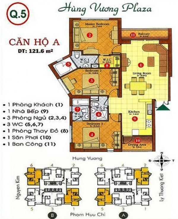 Bán căn hộ Hùng Vương Plaza 129m2 - 3 PN