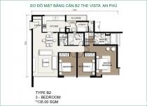 Căn hộ The Vista 135m2 3 phòng ngủ tháp T4 view hồ bơi